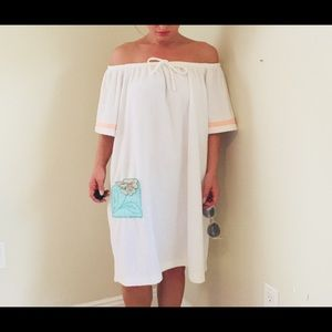 Vintage terry cloth off the shoulder lounge dress
